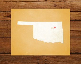 Customized Oklahoma 8 x 10 State Art Print, State Map, Heart, Silhouette, Aged-Look Print