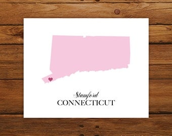 Connecticut State Love Map Silhouette 8x10 Print - Customized