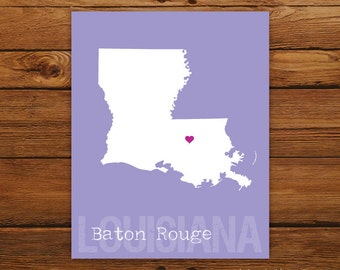 Custom Louisiana, Personalized State Print, State Love, State Map, Country, Heart, Silhouette, 8 x 10 Wall Art Print