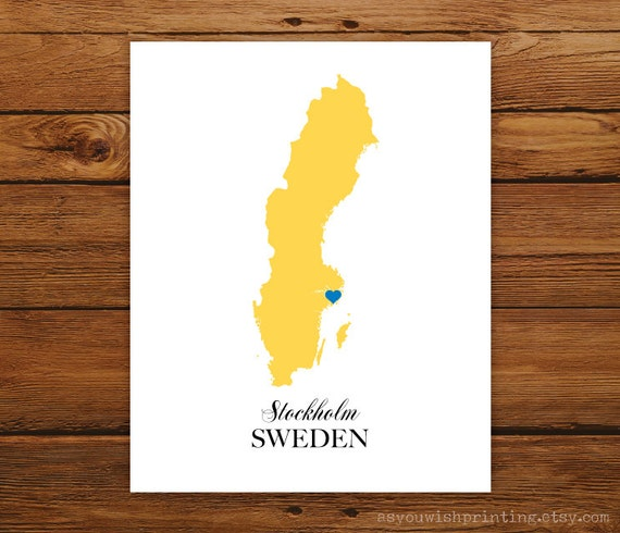 Sweden Country Love Map Silhouette 8x10 Print - Customized