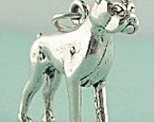 Boxer Dog Charm 3d Sterling Silver 925 Pendant