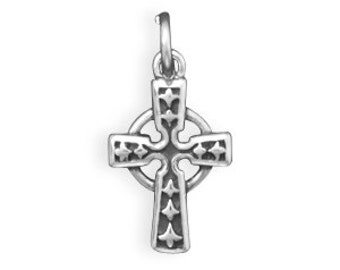 Sterling Silver Celtic Cross Charm Pendant Small