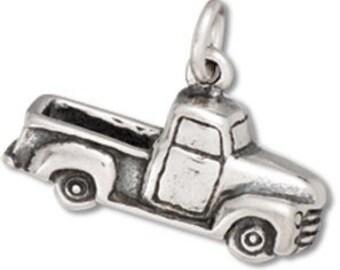 Sterling Silver 50's Pickup Truck Charm 3D Pendant Transportation Car Automobile