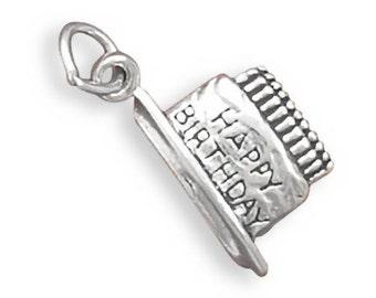 Sterling Silver Happy Birthday Cake Charm Pendant