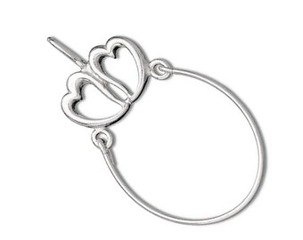 Sterling Silver Two Heart Charm Holder Pendant Perfect for Christmas Projects