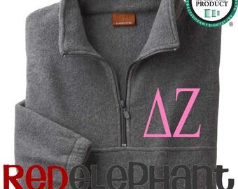 Delta Zeta Jacket, Monogrammed Sorority Jacket, Monogrammed Zip Jacket, Monogrammed Jacket, Fleece, UNISEX, Licensed Sorority Pullover