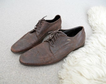 Mens Oxfords Shoes // Brogue Brown Leather Dress Loafers Size US 10 1/2  EU 44