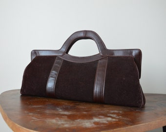 Suede Leather Purse // Handbag Classic Vintage Doctor Style Bag