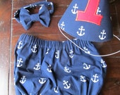 Boys Nautical 3 Piece Cake Smash Outfit, Anchor Cake Smash Outfit, Nautical Smash Cake Set.