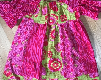 Girls Pink and Green Dress - Sample Sale