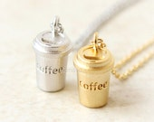 Coffee Cup Necklace / coffee lover necklace, gold and silver