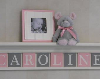 Pink and Gray Nursery Girl Wall Decor (Off White) Shelf - Sign with Custom Light Pink and Gray Wooded Name Letters