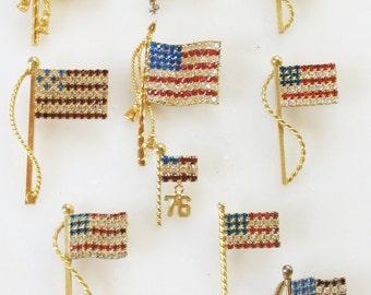 LOT 10 VTG American Flag Pins Brooch Rhinestone Prong Set Glass Stones Patriotic Gift Americana Patriot Estate Jewelry Bling Glitz Glam