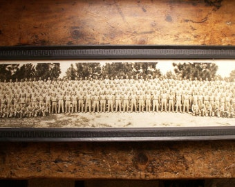 Vintage WWII Military Framed Yard Long Photograph - Fort Bragg, NC