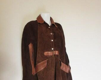 60's Vintage Suede Leather Cloak Cape hippie mod