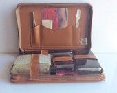 Vintage Mens Leather TRAVEL Kit // 9 piece set