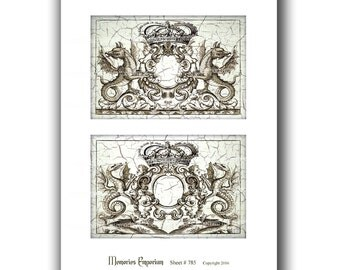 Dragons Serpents Heraldic Armorial Emblem Renaissance Medieval Postcard Shabby Chic Stationery Invitation Party Decoupage Paper Clipart 785