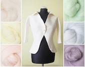 Natural white wedding bolero with wide collar / Retro weddings / hand made / nuno felted / softest wool