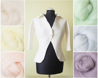 Wedding bolero with wide collar / hand made / softest wool / Natural white / or in pastel colors