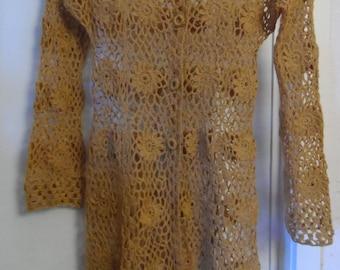 Crochet lace hippie boho bohemian mustard green yellow jacket cardigan