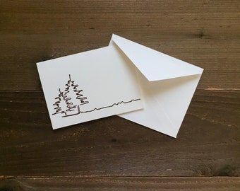 spruce tree outline greeting card