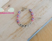 Personalized girls Purple and pink Glass Imitation Faux Pearl Beads Bracelet