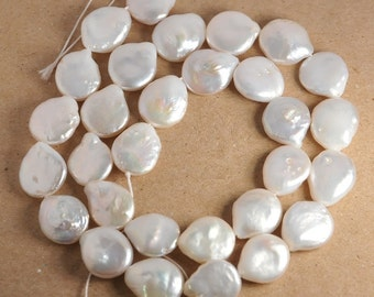 Full 15 inch strand: Coin pearl with a tail, cultured freshwater pearls, small size 10-11mm, grade AA, natural white
