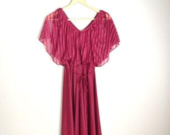Pre-Christmas SALE - Vintage 70s Burgundy Red Flowy Soft Travolta Club Dance Spring Summer Dress // womens xsmall