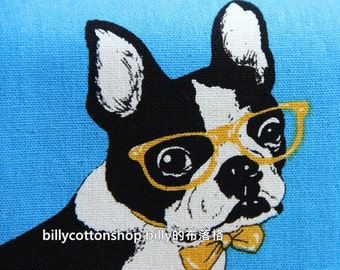 w790_55 - bulldog fabrics- cotton linen fabrics  ( blue ) in Half Yard
