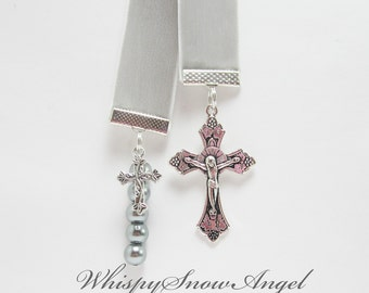 Christian Ribbon Bookmark Gray Velvet Confirmation Baptism Silver Glass Pearls Large and Small Cross Charms
