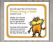 Dr. Seuss Baby Shower Bring a Book Instead of a Card Invitation Insert - the Lorax