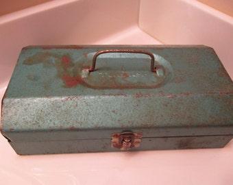 Vintage Blue Metal Tool Box