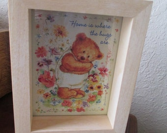 Vintage Mary Hamilton Frame With Bear - Home Is Where The Hugs are
