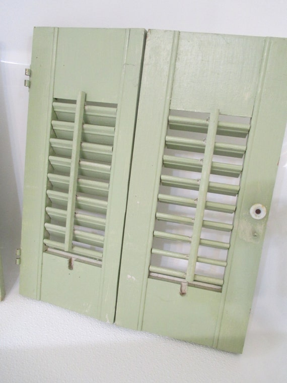 Vintage Green Louvered Distressed Shutters