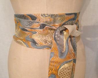 Blue, Orange, and Gold Abstract Brocade Reversible Obi Sash