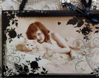 Vintage Girl with Persian Cat Decorative Feline Fancy Wall Plaque Sign