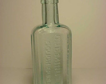 c1880s One Minute Cough Cure E.C. DeWitt & Co. Chicago, ILL., Aqua Blown Glass Cork Top Medicine Bottle