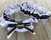 Sexy Jeep Bridal Satin Wedding White & Black Keepsake Or Garter SET