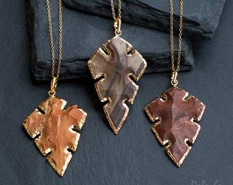 Jasper Arrowhead Pendant - Arrowhead Necklace - Tribal Arrowhead - Layering Necklace - Bohemian - Boho Hippie Chic Necklace