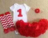 1st Birthday Girl Outfit - Red Chevron - Bodysuit Shirt - Red Pettiskirt Tutu - Chevron Leg Warmers - Baby Girls First Birthday Outfits