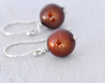Chocolate Brown Freshwater Pearl Earrings, Argentium Sterling Silver French Hoops, June Birthstone, Gift Under 20