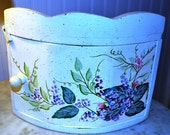Vintage Hand Painted Wood Corner Wall Cabinet