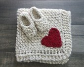 Baby Knit Blanket and Bootie Set with Heart // Wheat //