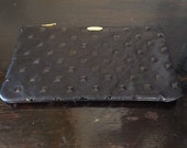 Black embossed leather Pouch 8x5 inches