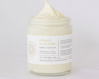 Whipped Body Butter - Vegan - All-Natural - Cocoa Butter Shea Butter Coconut Oil Jojoba Oil lotion