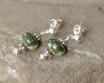 Rhyolite Jasper Earrings, Rainforest Jasper Earrings, Small Green Earrings, Natural Stone Earrings