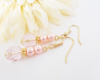 Pink Pearl Drop Earrings, Blush Pink Bridesmaid Earrings Gift for Daughter, Spring Fashion Jewelry, Womens Gift for Her, Crystal Earrings