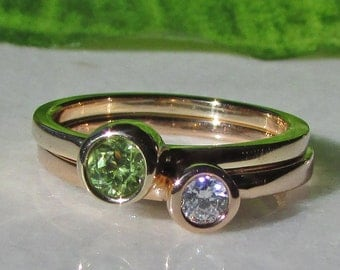 Rose Gold Diamond Stacking Ring Set, 14k Rose Gold Band, 14k Yellow Gold Band, 3mm Diamond, 3.5mm Peridot