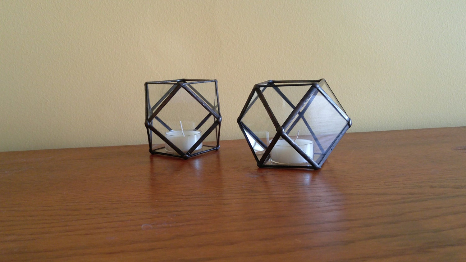 Stained Glass Candle Holder Set Of 2 Geometric Coffee Table