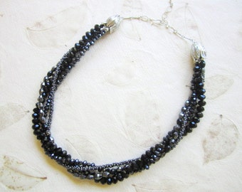 Shop Closing Sale,Faceted Black Rondell Crystal Necklace/Multi Strand Interchangeable/ sparkly black crystal/8mm,mix or match, versatile
